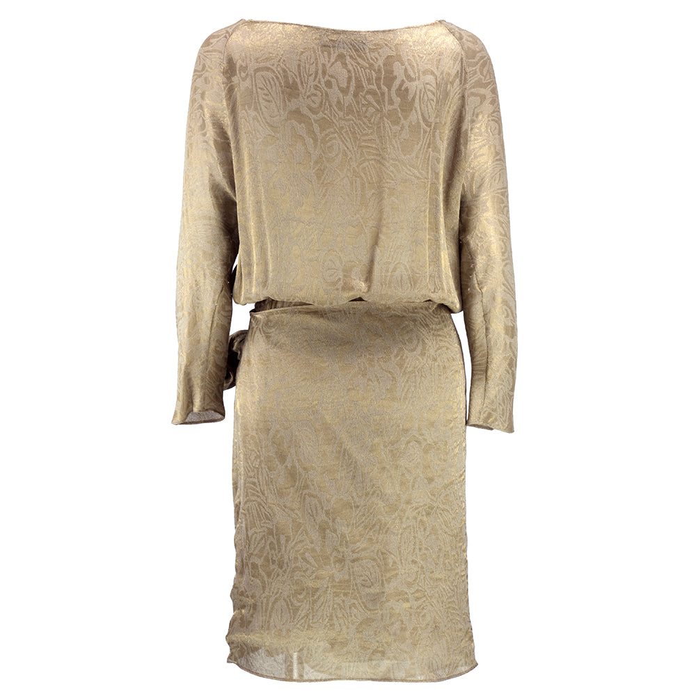 Vintage KARAN 90s Gold Lame Wrap Dress, back