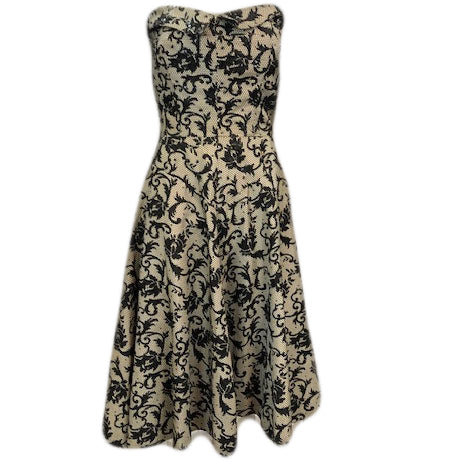 dele Simpson Black and White Strapless 50s Dress  Front 1 of 7