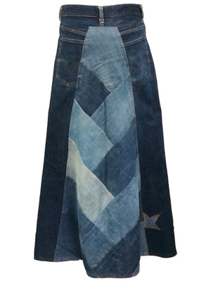 Levi 70s Denim Patchwork Maxi Skirt BACK 3 of 6