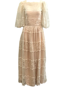 70s Ivory Lace Gown with Pink Underlay