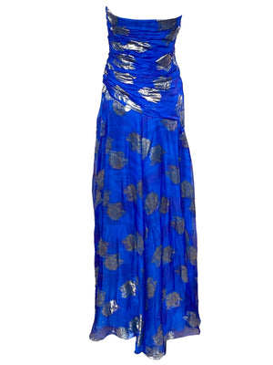 Scaasi 80s Blue Chiffon Strapless Gown with Matching Stole  BACK 3 of 4