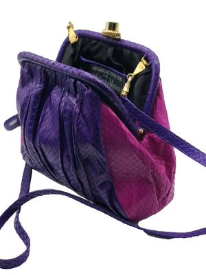 Andrea Pfister Snakeskin Shoulder Bag in Purple and Fuschia  OPEN 3 of 5