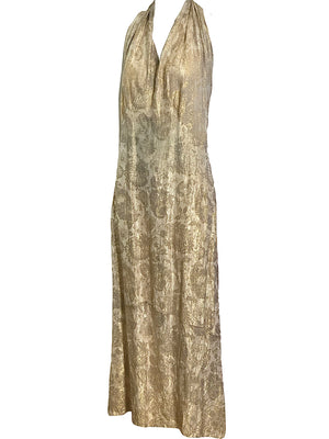 Early 30s Gown Gold Lame Halter ANGLE 2 of 3