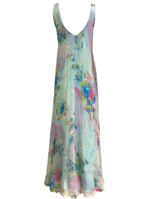 Stavropoulos 70s Pink and Blue Chiffon Maxi Dress with Scarf BACK 4 of 5