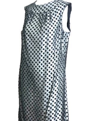 60s Dress Black Polka Dot Over Silver Lurex sheath DETAIL 4 of 6
