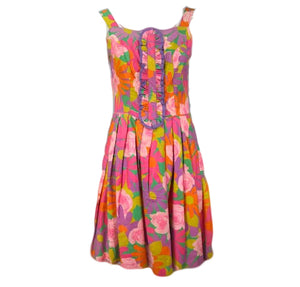 60s Dress Psychedelic Floral Mini with Ruffle Front 1 of 4