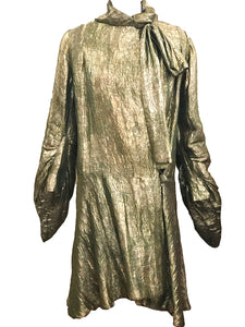 20s Green and Gold Lame Coat with Bow  FRONT 1 of 4