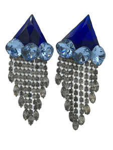 80s Wendy Gell Blue Crystal Assemblage Earrings with Fringe FRONT 1 of 2