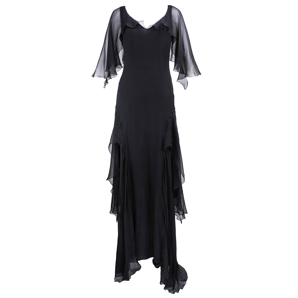 UNGARO Black Chiffon Deco Style Gown Front 1 of 6