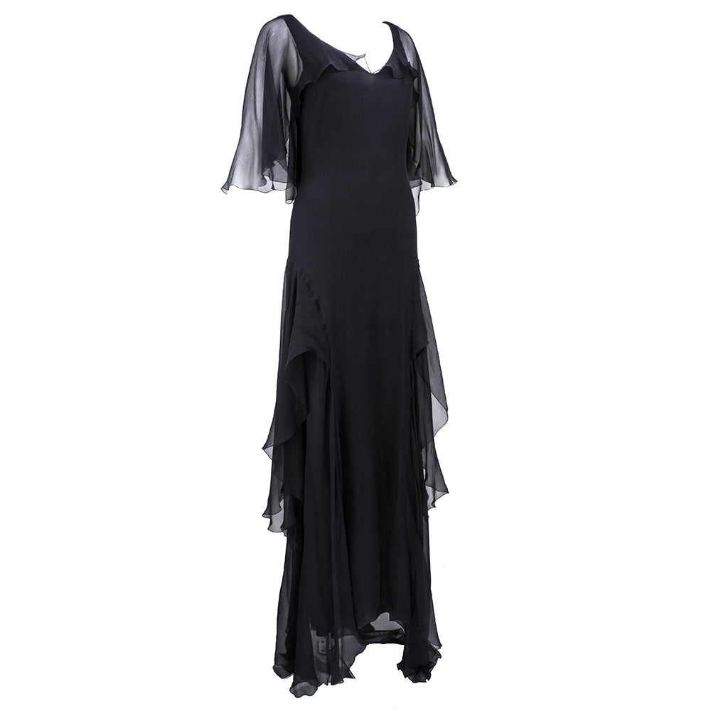 UNGARO Black Chiffon Deco Style Gown Side 2 of 6