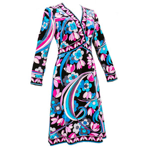 Vintage PUCCI 70s Velveteen Floral-Print Dress, sid