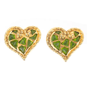 Lacroix 90s Green Heart Clip On Earrings Front 1 of 3Lacroix 90s Green Heart Clip On Earrings Front 1 of 3
