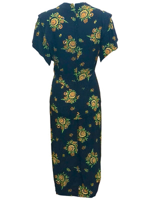 Dorothy O'Hara 40s Rayon Print Dress  BACK  3 of 7