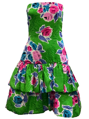 Arnold Scaasi 90s Green Floral Silk Strapless Cocktail Dress FRONT 1 of 5