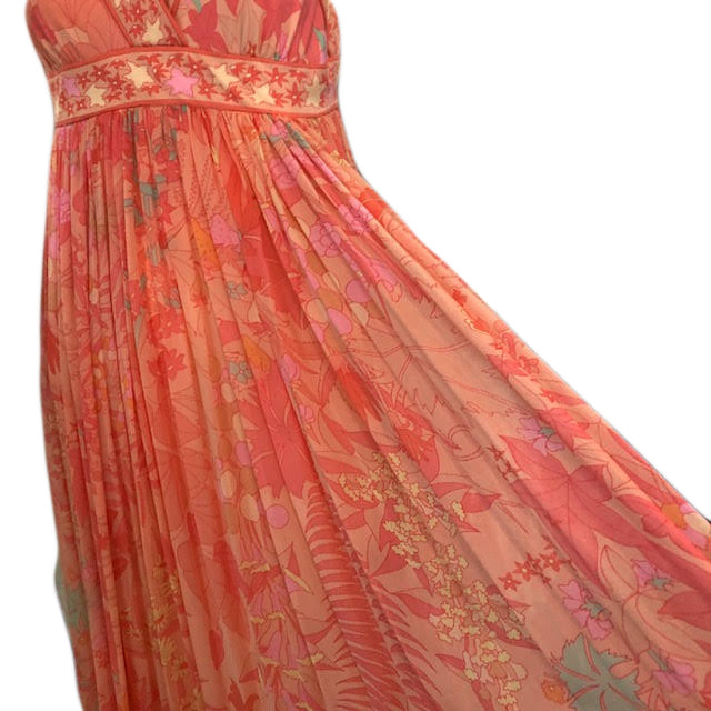 70s Bessi Pastel Chiffon Maxi Dress Detail B 4 of 6