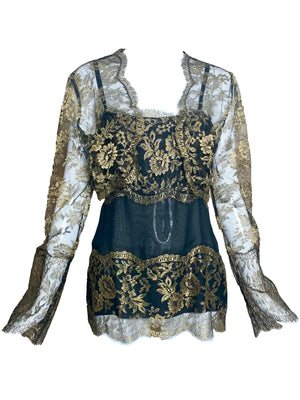 80s Gold Lame Lace Evening Blouse with Matching Cropped Jacket FRONT 2 of 5