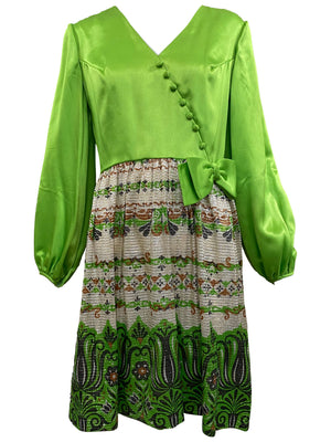 60s Unlabeled Chartreuse and Lame Party Dress FRONT 1 of 5