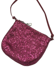 Whiting and Davis 70s Magenta Metal Mesh Disco Pouch FRONT 1 of 4