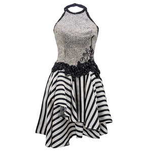 Vintage FABRICE 80s Beaded Monochrome Halter Dress