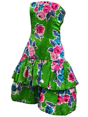 Arnold Scaasi 90s Green Floral Silk Strapless Cocktail Dress SIDE 2 of 5