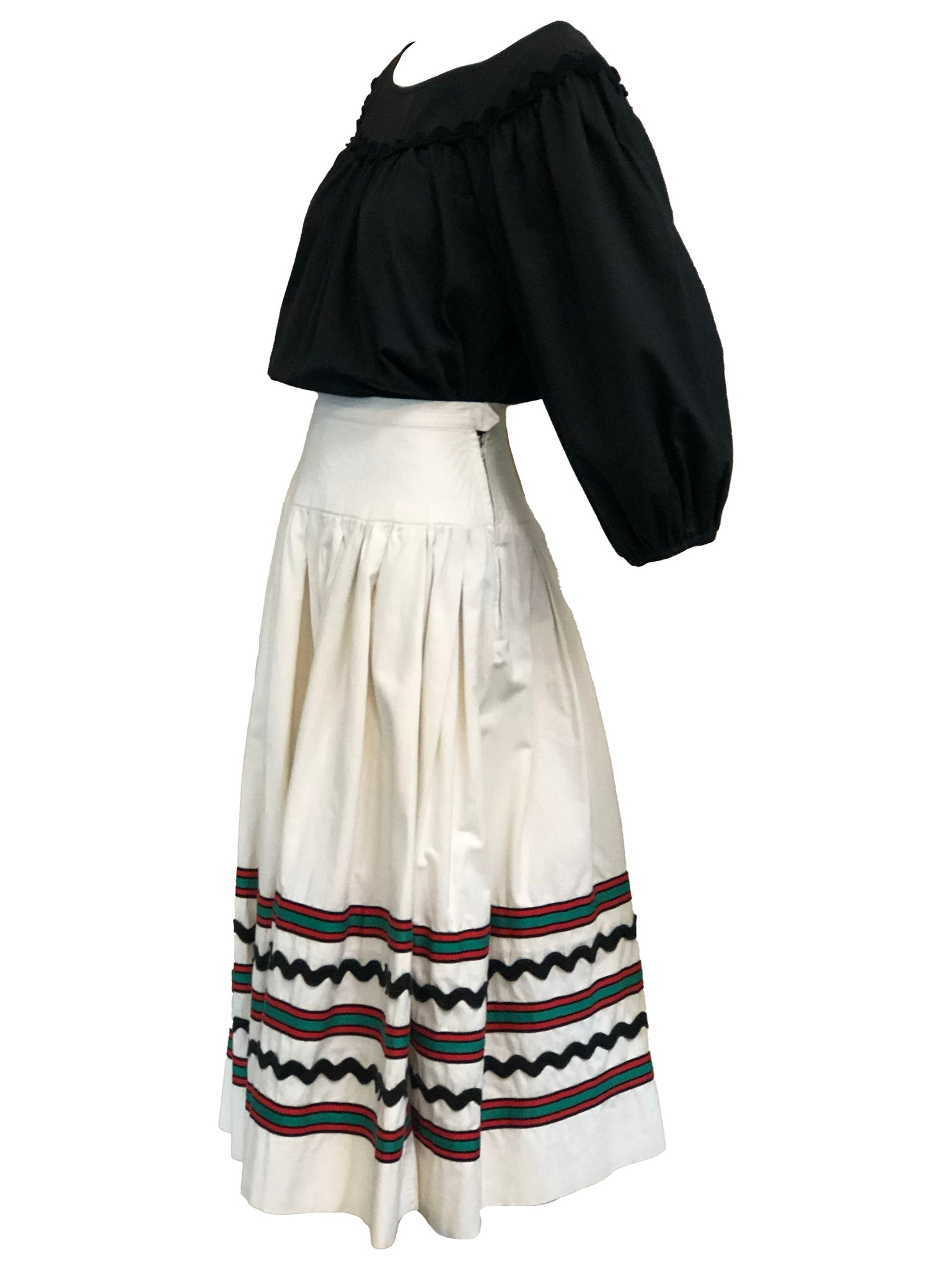 YSL 1970s Peasant Ensemble in Black and White SIDE 2 of 6