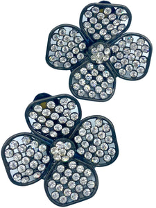 90s Four Leaf Clover Earrings with Sparkling Rhinestones FRONT 1 of 3