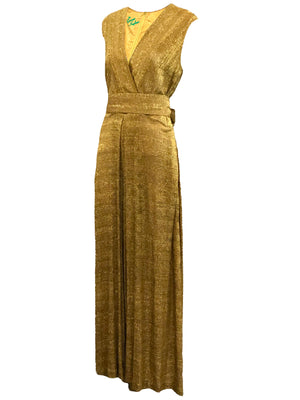 Georgia Keyloun 60s Gold Lurex Palazzo Jumpsuit, side