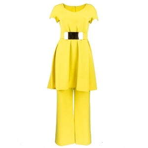 Vintage GALANOS 70s Yellow Mod Tunic Pantsuit