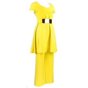 Vintage GALANOS 70s Yellow Mod Tunic Pantsuit, side