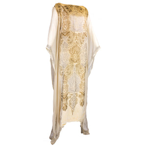 Vintage GALLENGA 20s Golden Velvet Stenciled Tunic, side