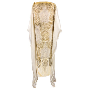 Vintage GALLENGA 20s Golden Velvet Stenciled Tunic, back