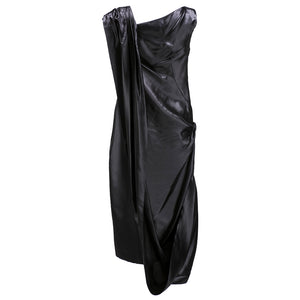 Givenchy 2000s Silky Black Asymmetrical Party Dress  BACK 3 of 5