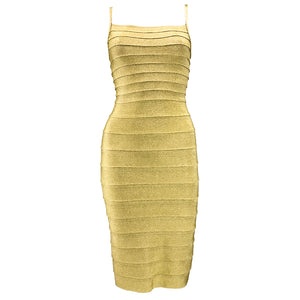 Vintage LEGER 90s Classic Couture Gold Bandage Dress