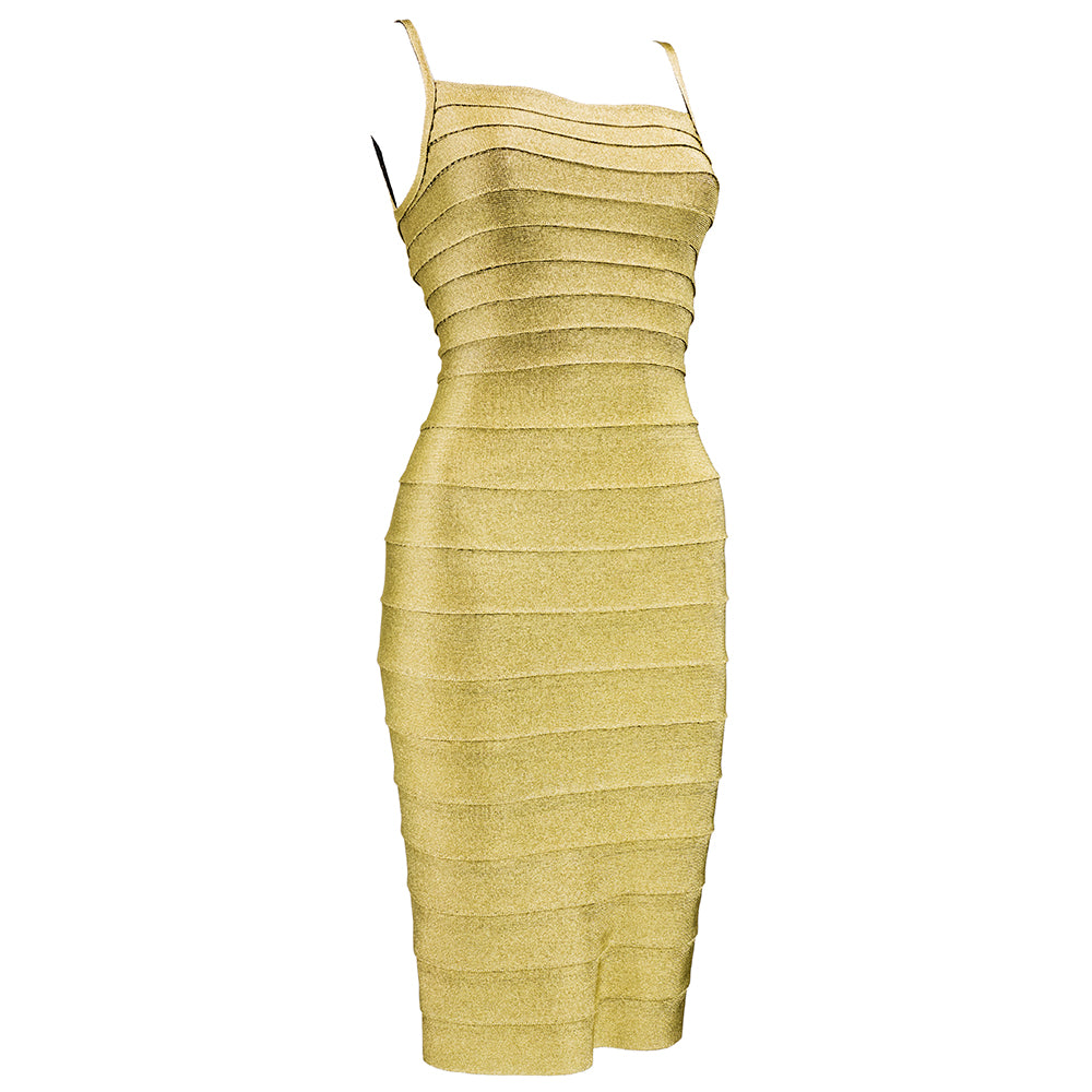 Vintage LEGER 90s Classic Couture Gold Bandage Dress, side