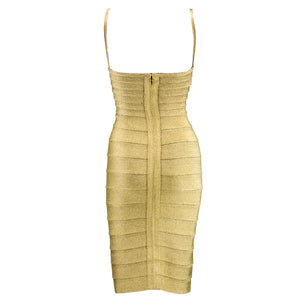 Vintage LEGER 90s Classic Couture Gold Bandage Dress, back