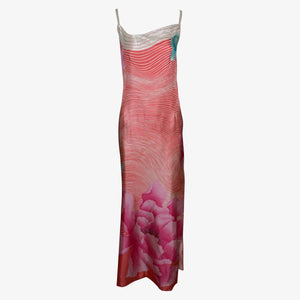 Hanae Mori 70s Silk Op Art Floral Beaded Gown with Matching Stole