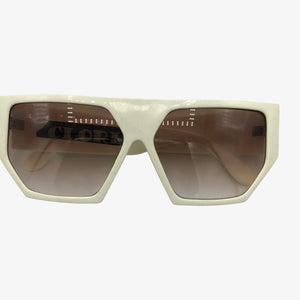 Clori 80s New Wave White Sunglasses   FRONT 1 of 3