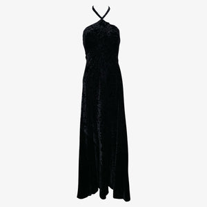 Galanos 70s Textured Black Velvet Halter Gown FRONT 1 of 4