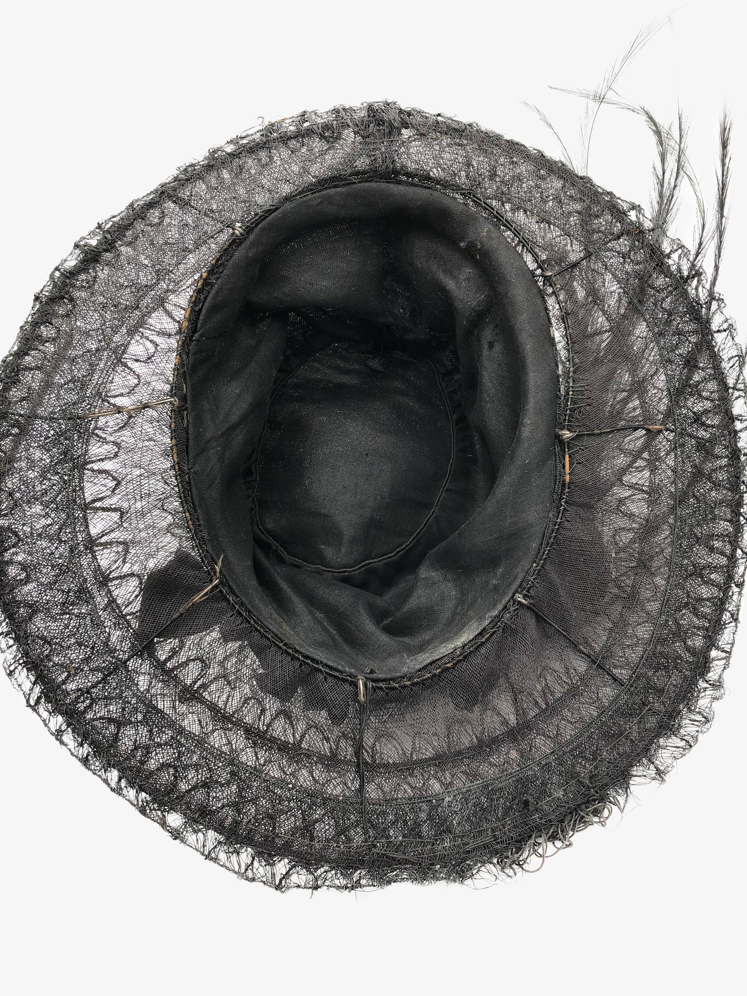 Edwardian Black Medium Brim Hat with Feathers , top view