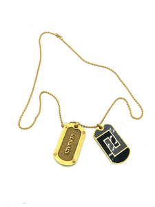 Lifetime Versace Gold Tone Enamel Dog Tags FRONT 1 of 5