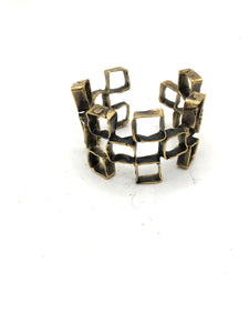 70s Brutalist Cubed Cuff Bracelet 1 of 5