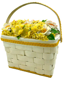 Betsy B of Florida 50s White Basket Purse with Yellow and White Garden Top FRONT 1 of 7
