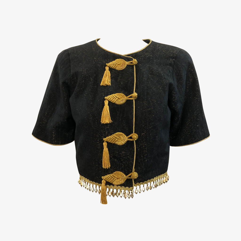 YSL 80s Black Short Sleeved Evening Jacket With Tassels and Beaded Fringe FRONT  1 of 6