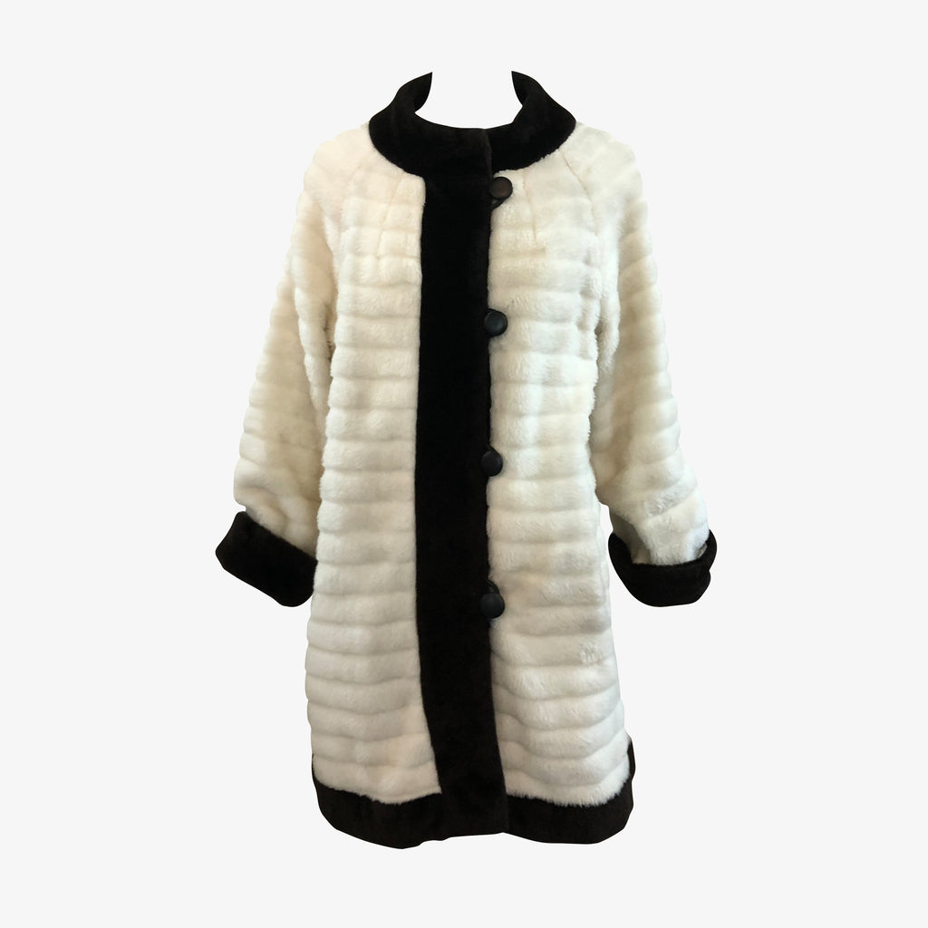 Gino Charles  60s White Faux Fur Coat with Fur Trim FRONT 1 of 6Gino Charles  60s White Faux Fur Coat with Contrasting Trim FRONT 1 of 6