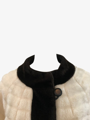 Gino Charles  60s White Faux Fur Coat with Fur Trim COLLAR 3 of 6Gino Charles  60s White Faux Fur Coat with Contrasting Trim COLLAR 3 of 6