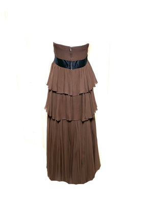 Sarmi  60s Chocolate Brown Chiffon Tiered Strapless Gown BACK 2 of 3