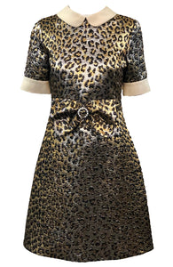 Gucci 2017 Gold Lame Leopard Dress Front 1 of 6