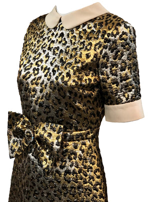 Gucci 2017 Gold Lame Leopard Dress Detail A 4 of 6