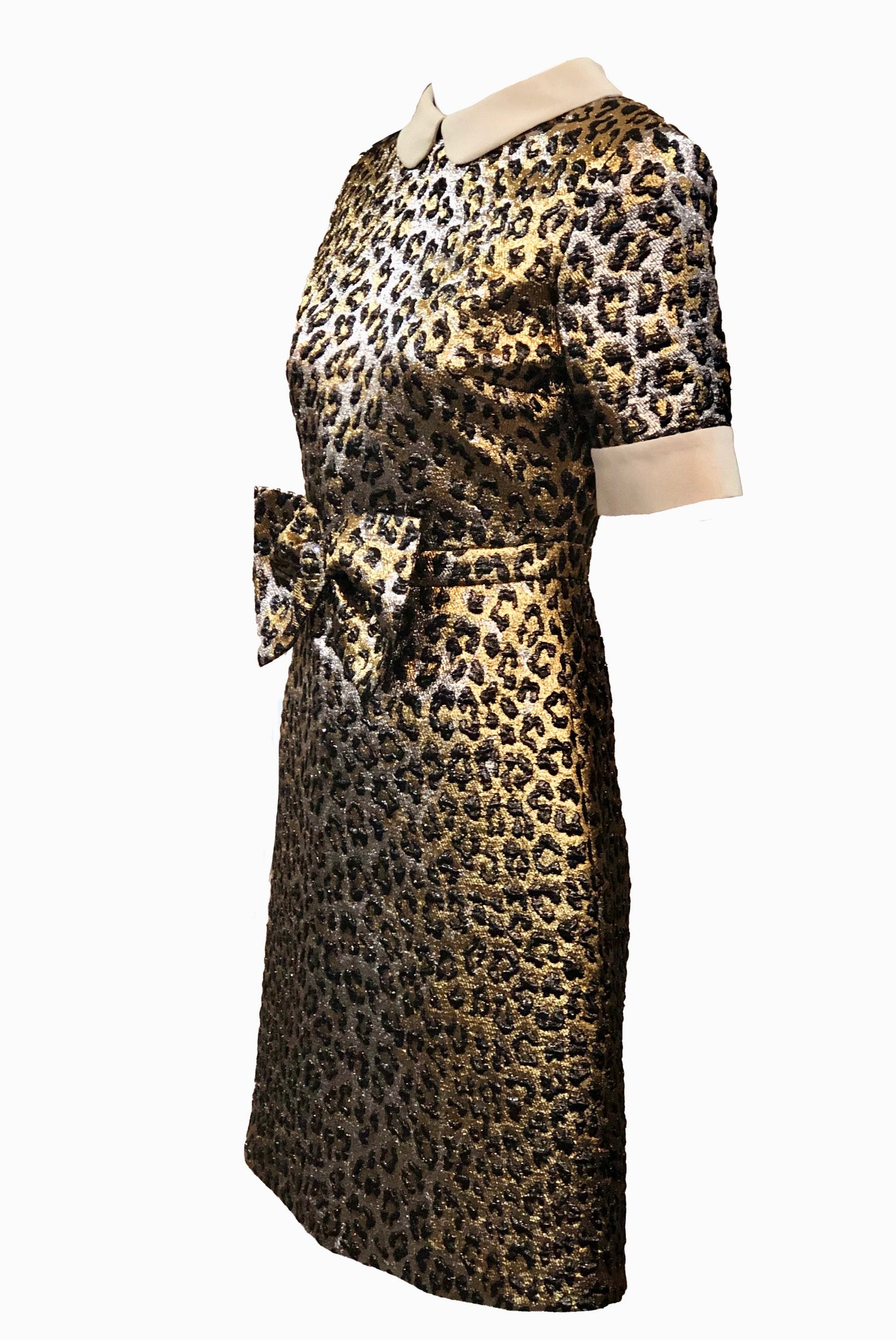 Gucci 2017 Gold Lame Leopard Dress Side 3 of 6