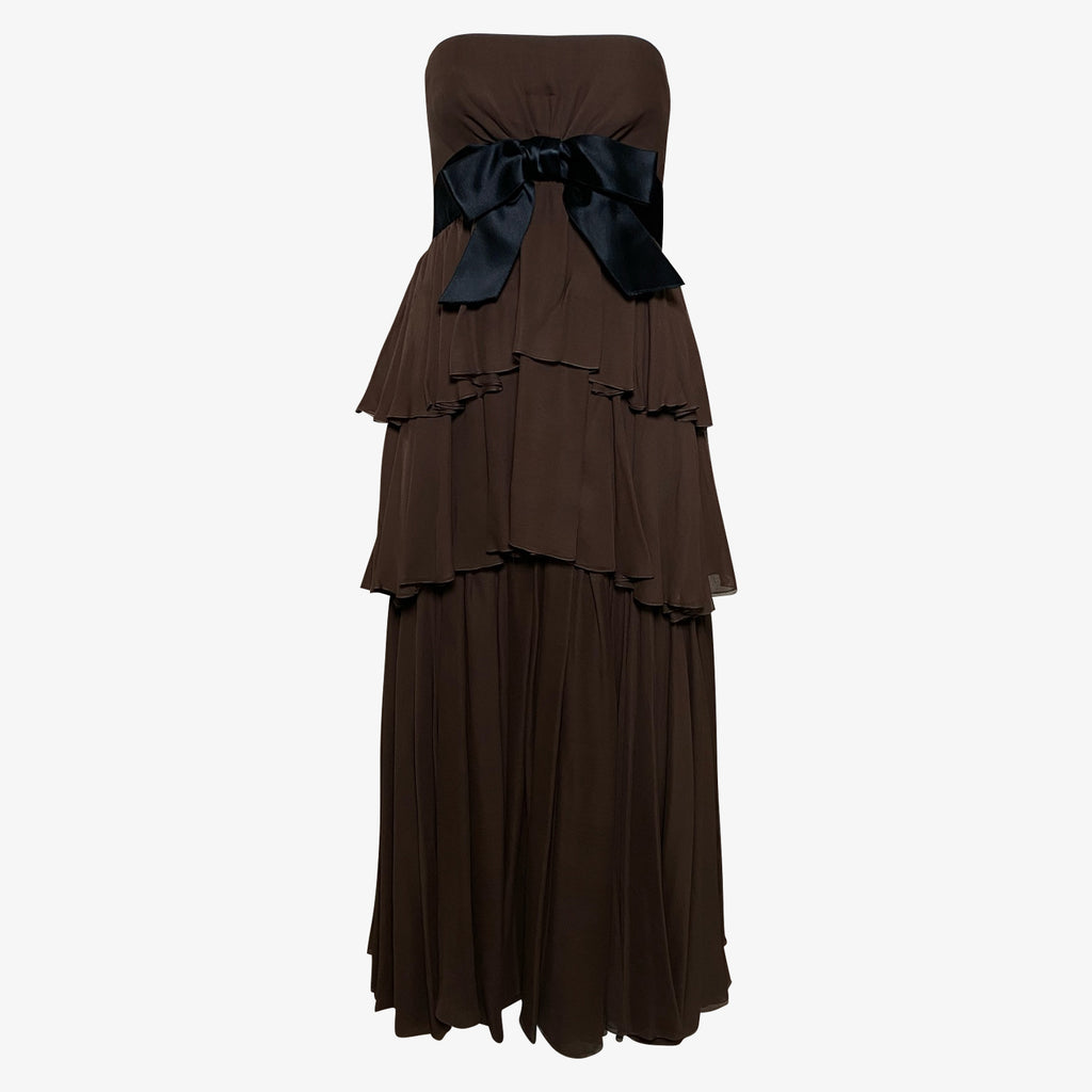 Sarmi  60s Chocolate Brown Chiffon Tiered Strapless Gown FRONT 1 of 3